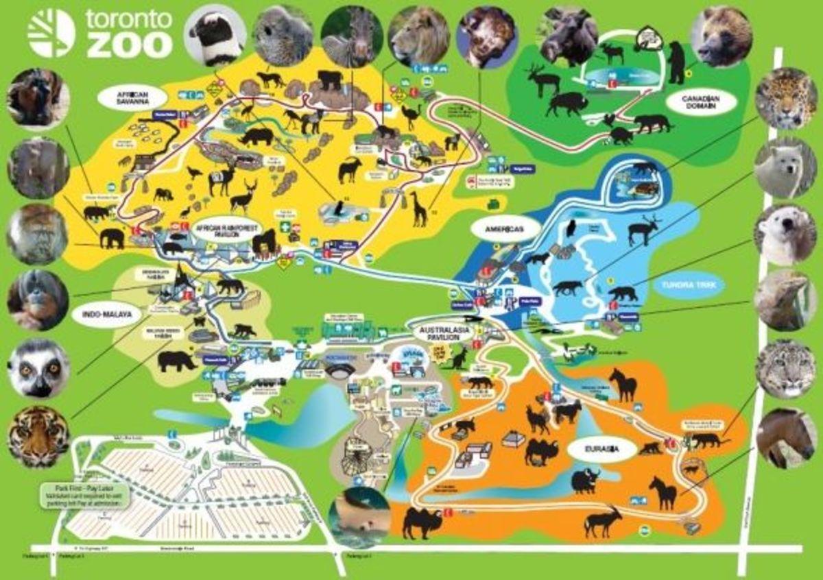 Map of Toronto Zoo, Ontario, Canada