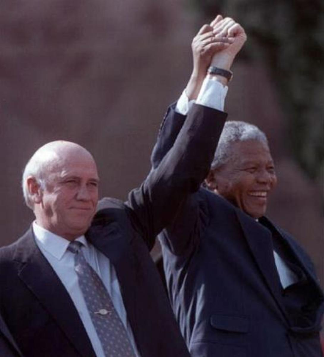 Nelson Mandela, along with the last president of the Apartheid regime, FW de Klerk, won the 1993 Nobel Peace Prize