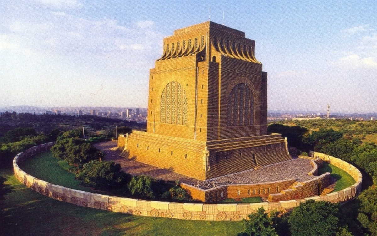 The 'Voortrekkermonument' in commemoration of the 'Groot Trek' (1835 to 1852) of the Afrikaner pioneers who had left the Cape Colony where they'd suffered under British rule.