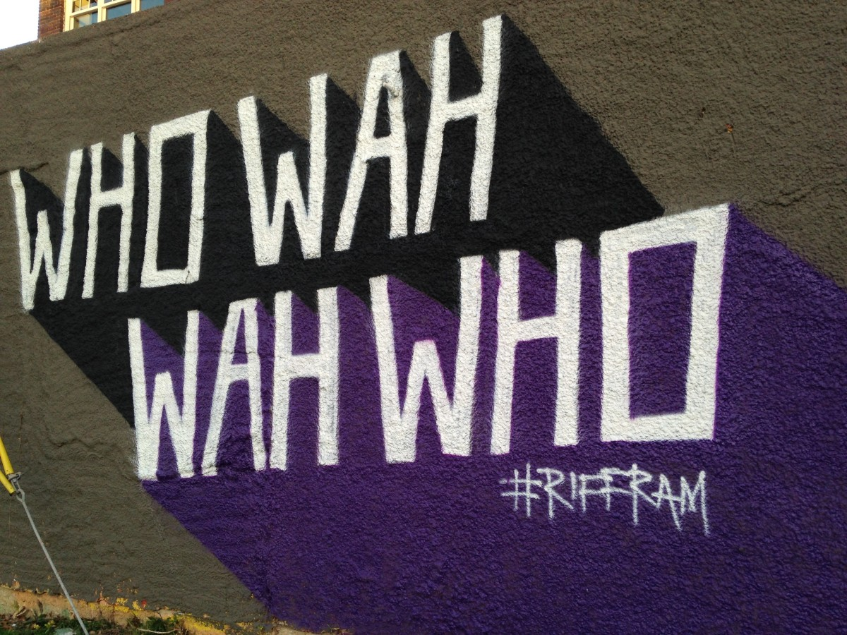 Wall on Magnolia Street in Ft. Worth; part of the Riff Ram cheer.