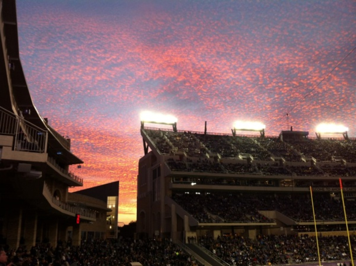 Sunset over the stadium