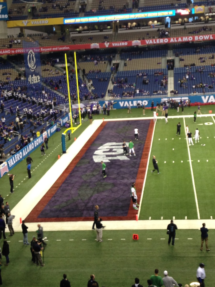 Custom TCU end zone at AlamoBowl compliments of Nike