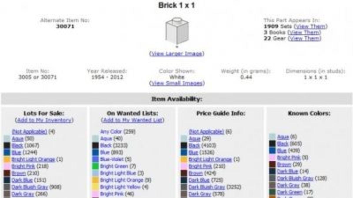 Screenshot of BrickLink's Lego Catalog