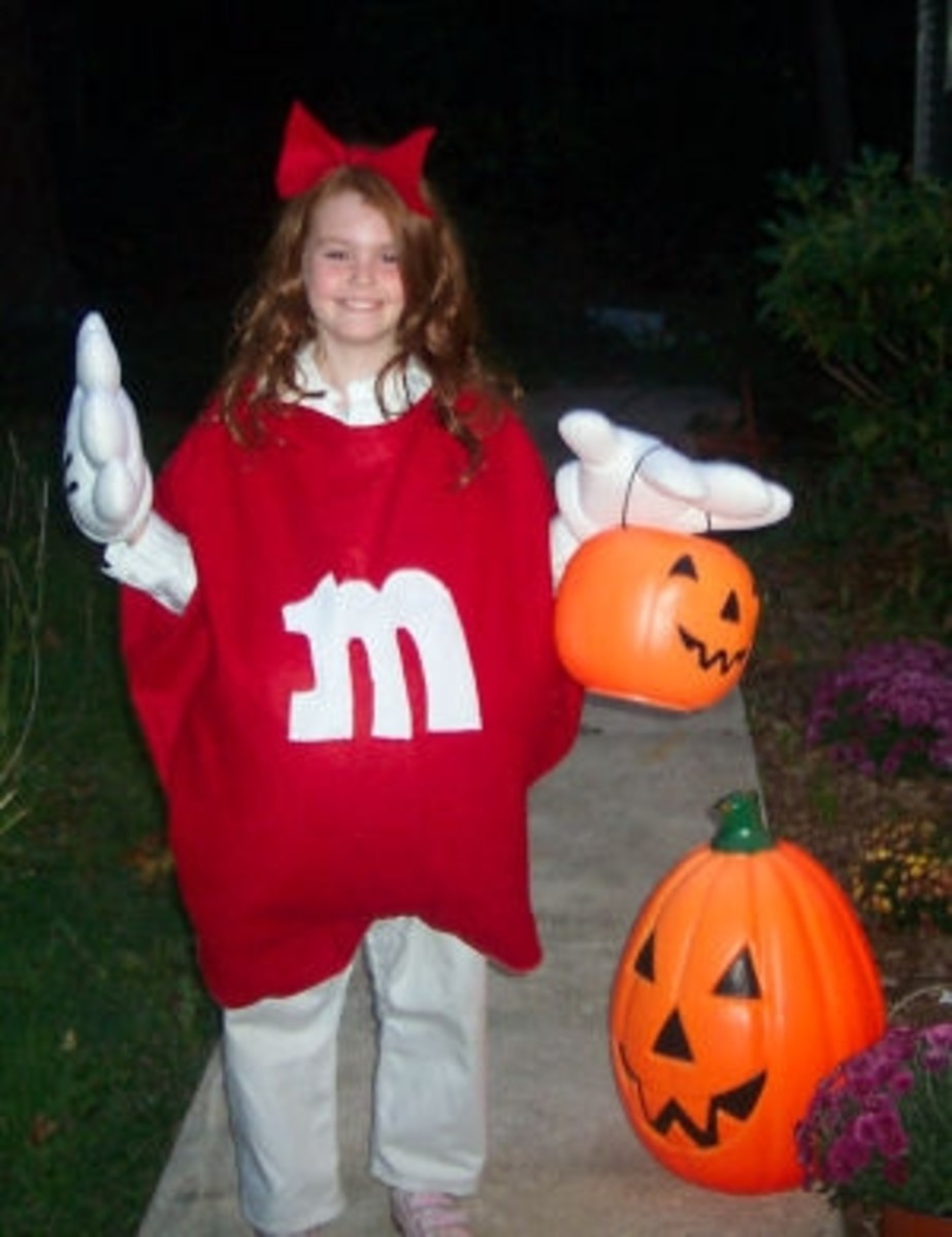 Girls Red Candy M&M Homemade Costume