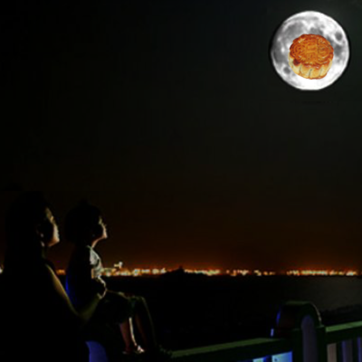 Gazing at the full moon - yes, there's a mooncake!