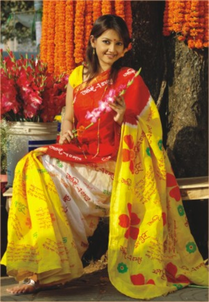 Red, Yellow and Green Saree for holud