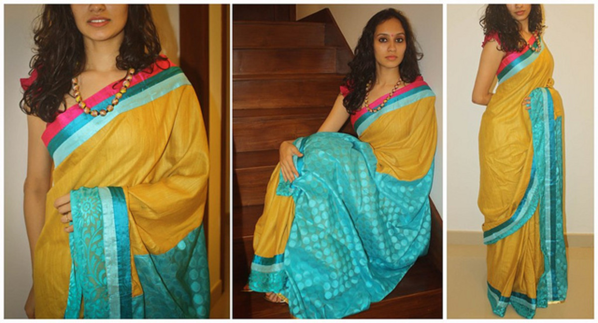 Yellow and turquoise Saree for Holud