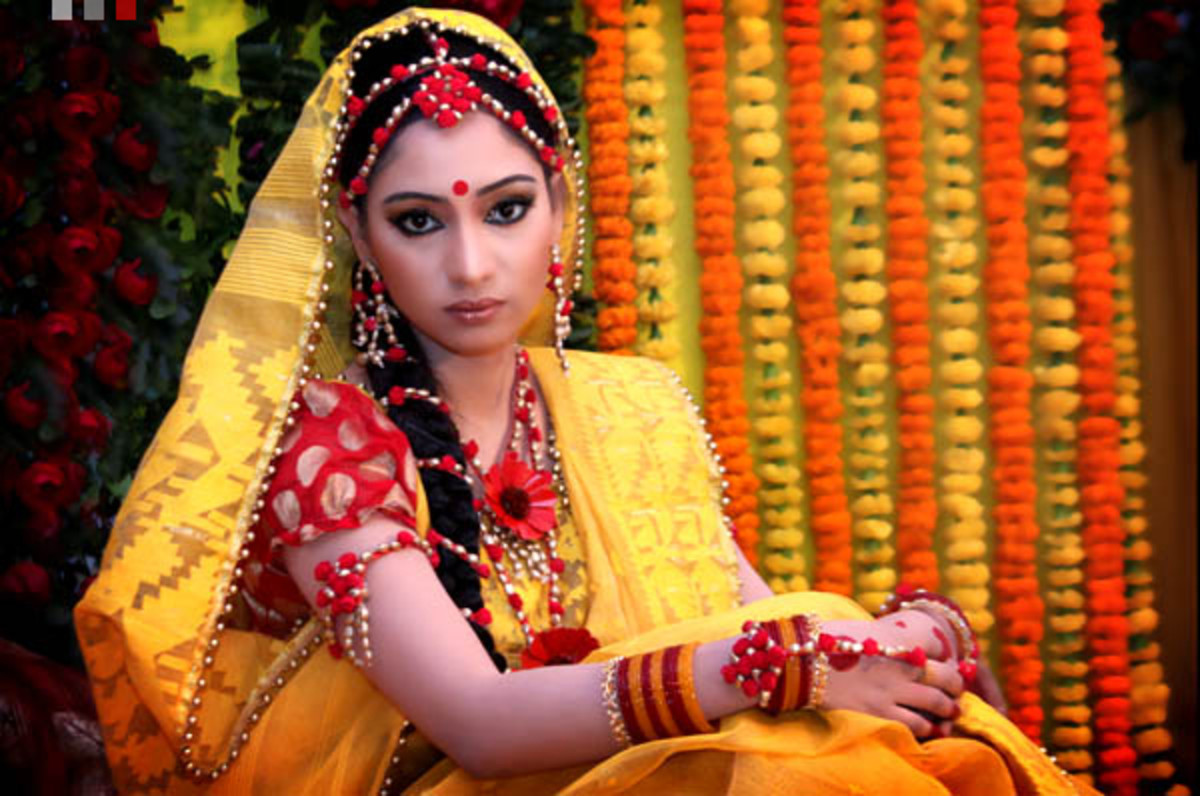 Yellow Jamdani Saree for Holud
