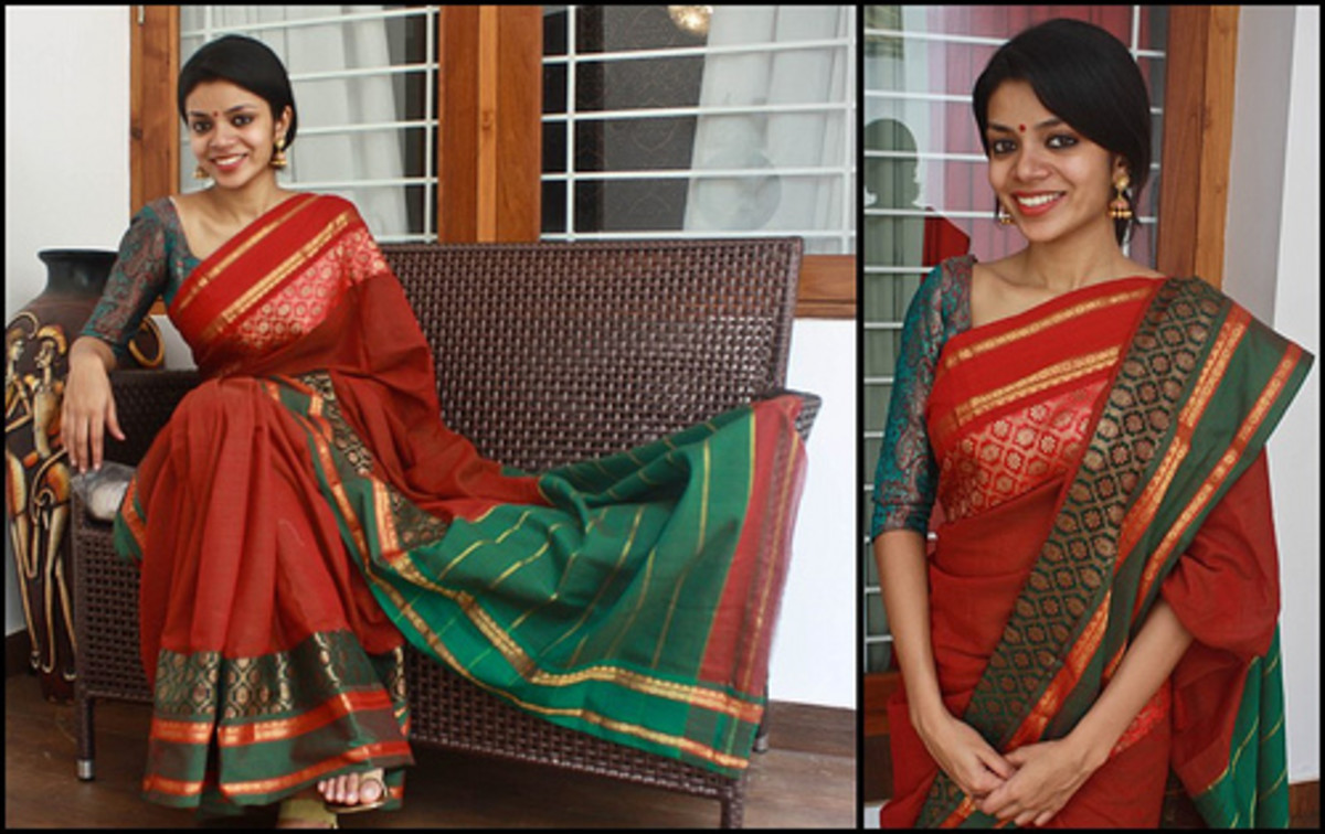 Red and Green Mehendi or holud saree for the Bride