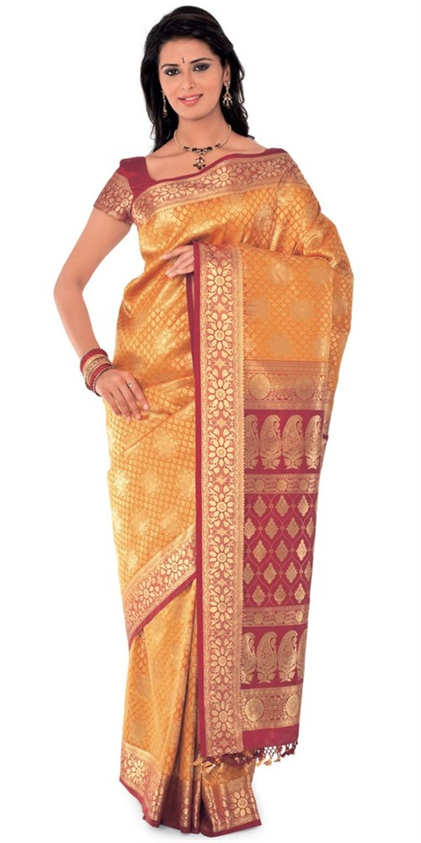 Golden Yellow and Brick Red silk katan saree for Holud