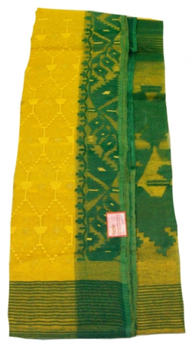 yellow and green jamdani saree