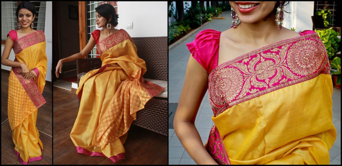 The Perfect Yellow and Magenta Benarasi border Saree for Holud or Haldi