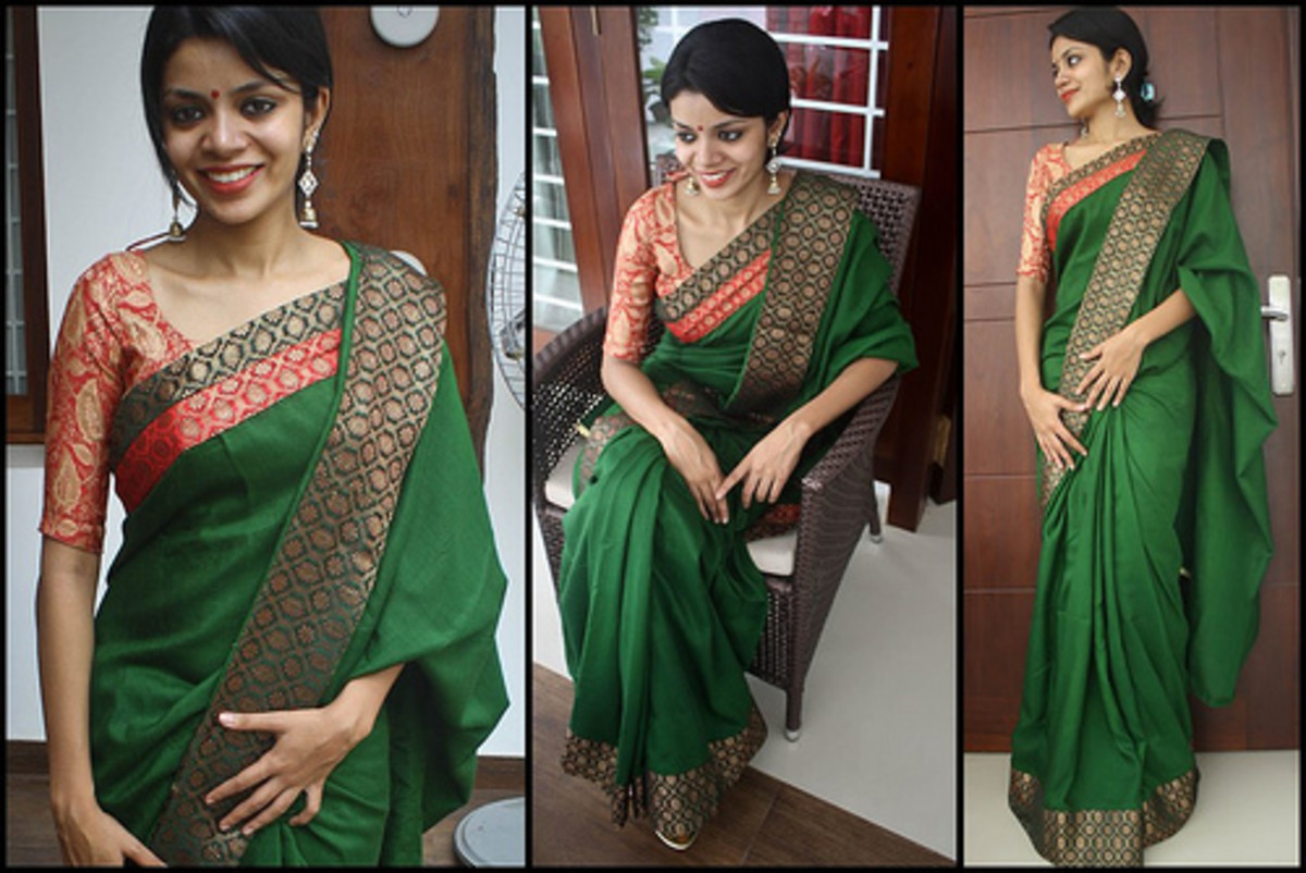 Lush Green and red saree for Mehendi