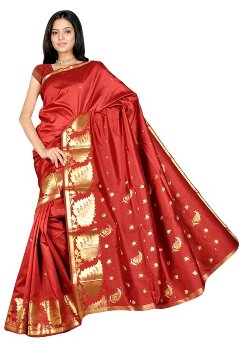 Brick red Silk Katan for Mehendi or Holud
