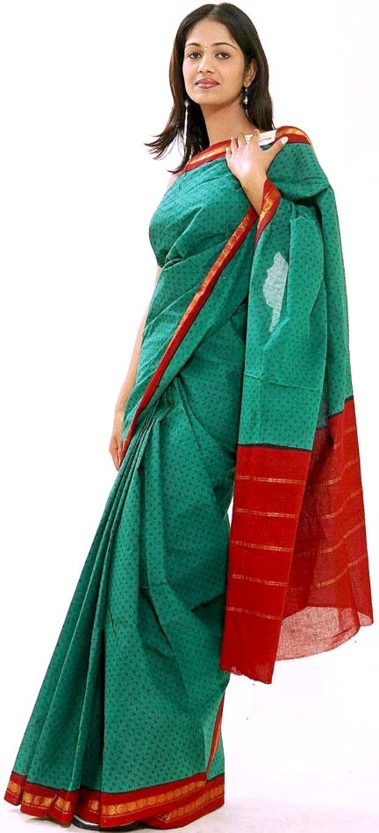 Teal and Red Cotton Saree for Holud