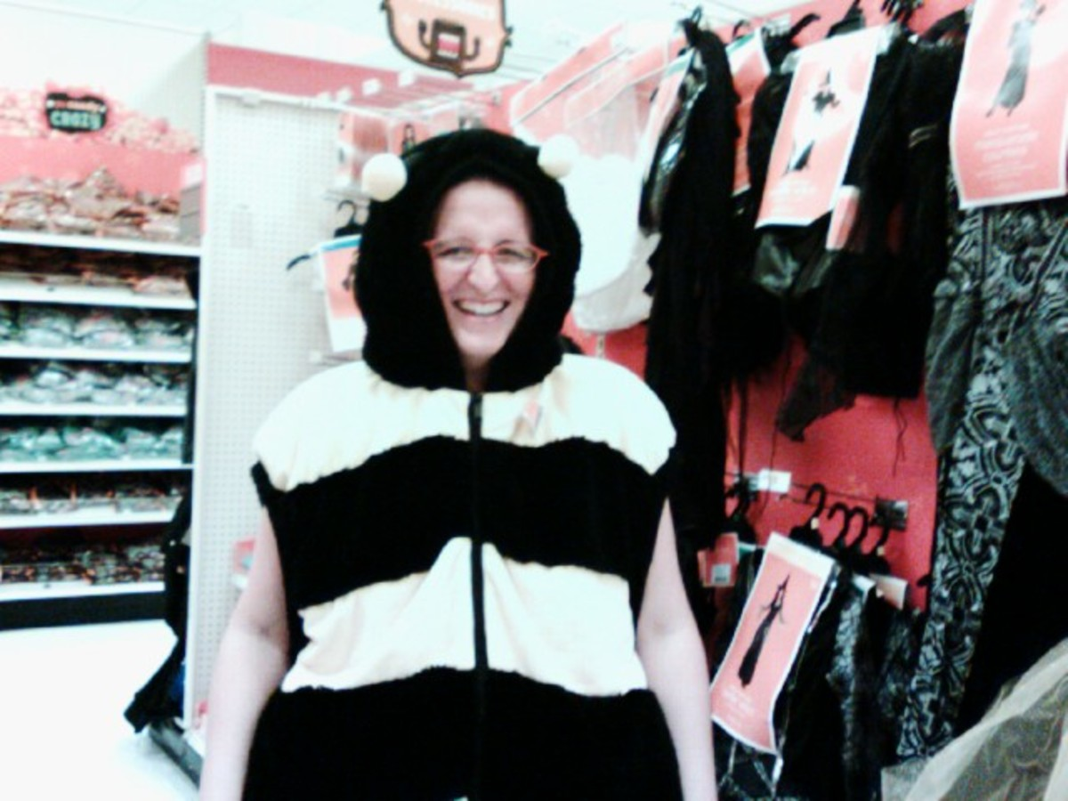 Me in a ridiculous bee costume at Target.
