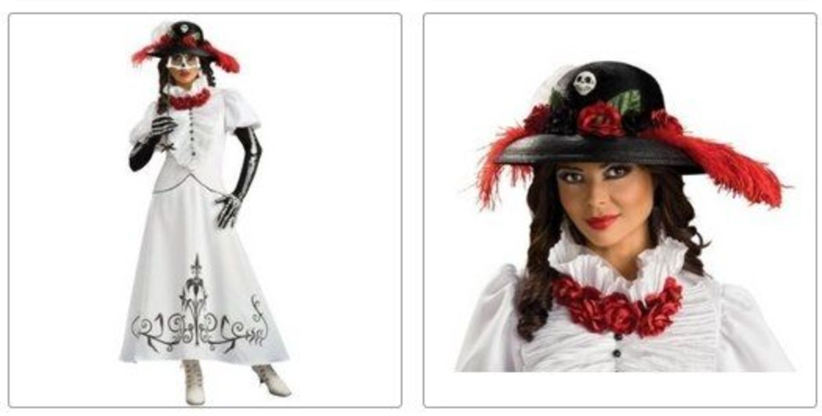 Skeleton Catrina Bride Costume and Hat