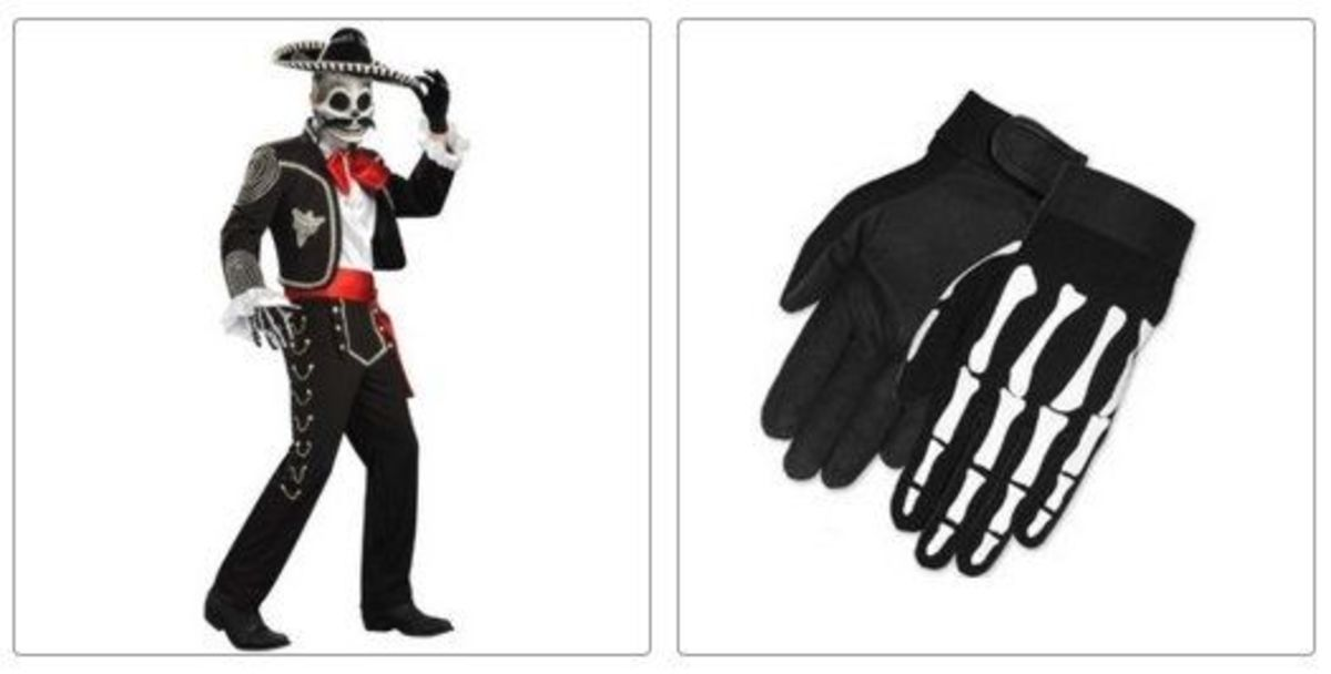El Senor Skeleton Costume and skeleton gloves
