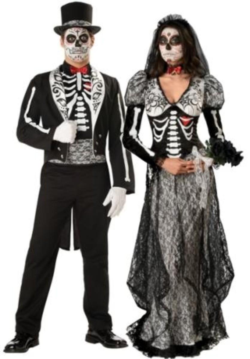 Dia de los Muertos Groom and Bride Unique Couple Costumes