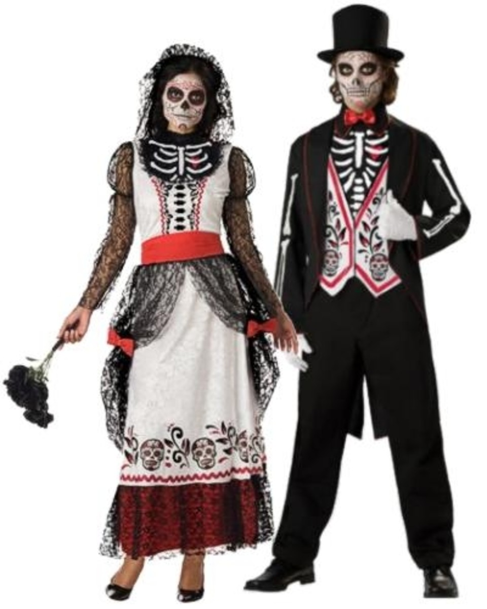 Day of the Dead Bride and Groom Unique Couple Costume