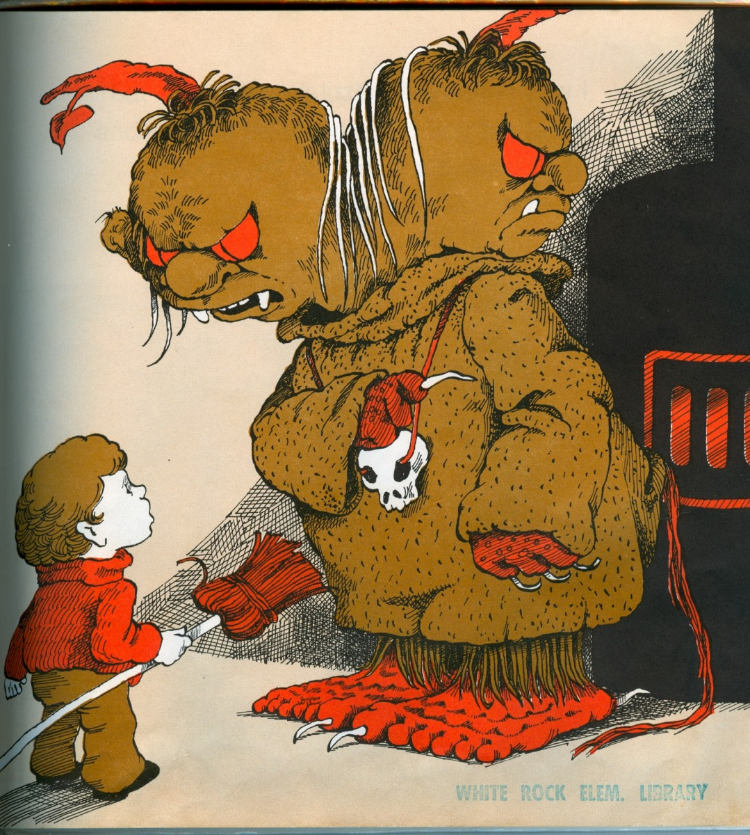 The Whatzit from Dick Gackenbach's classic book is the story of a monster bully and Harry, a boy who faces his fears...with the kitchen broom!