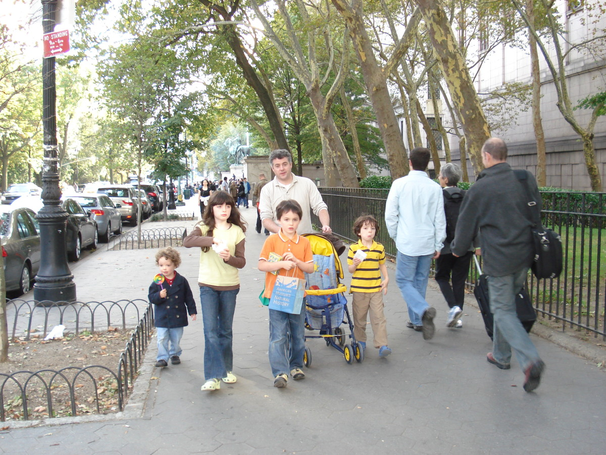 On the streets of NYC, where small families are the norm, a large family raises eyebrows.