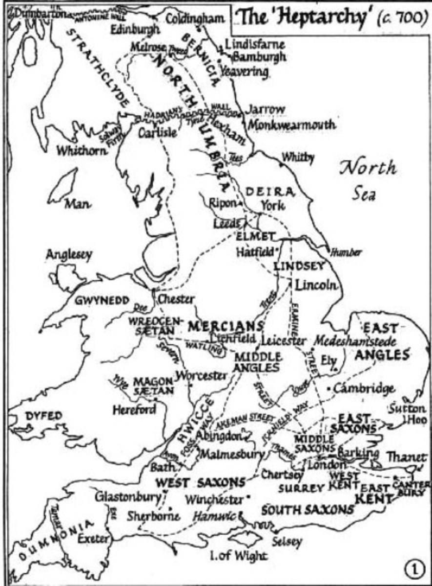 ... Each virtually with its own language. Kingdoms were divided by loyalties or blood ties, and only grudgingly acknowledging an over-king. East Anglia, Kent, Mercia, Northumbria and Wessex went their own ways, sometimes swallowing up lesser realms.