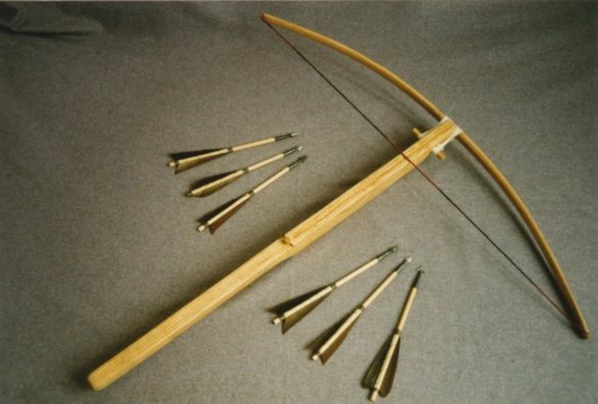 The crossbow could deliver a bolt much faster or harder than a tradional bow at the time, and many an English shield was split by the force of the bolts... until the Welsh longbow was introduced, or unless the weather was damp even.