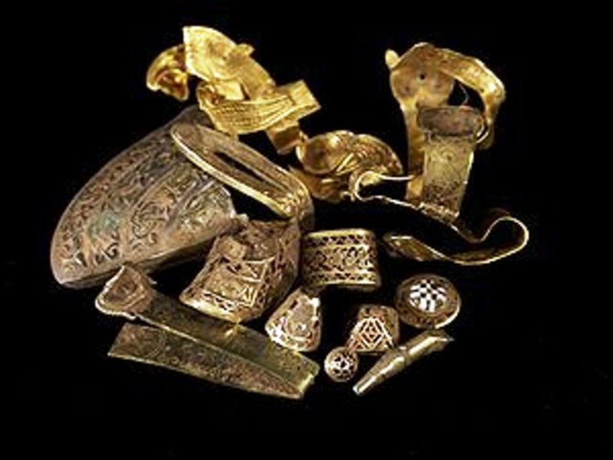 Penda,of Mercia raided in Northumbria, King Oswy offered a 'sop, gold and treasures from around Europe and northern Britain. Overladen, allies gone, Penda was waylaid near Leeds and killed. Some of the treasure reached central Mercia - Staffordshire