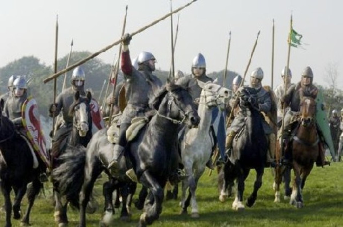 Norman cavalrymen - part of a 'conroi' or king's escort. They were the 'tanks' of early mediaeval warfare