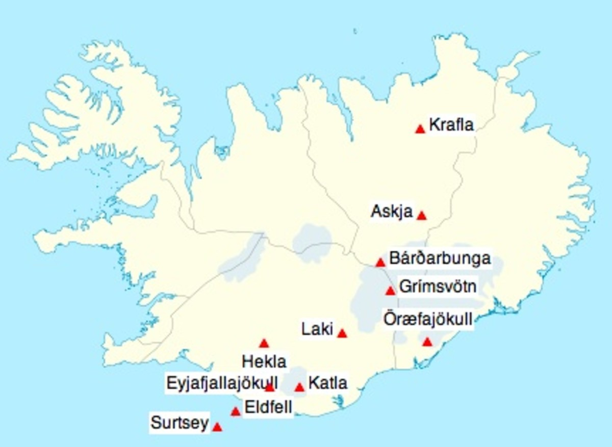 The Mid-Atlantic Ridge (plate boundary) passes through Iceland from the southwest (Surtsey) and zigs its way northeast. Many of Iceland's volcanoes are under glaciers, melting the ice and causing massive floods when they erupt.