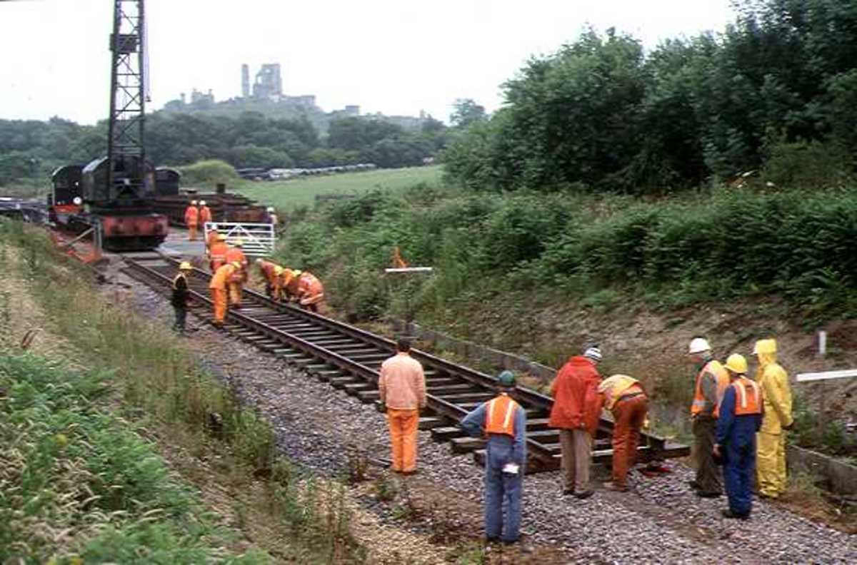 Track re-laying on the preserved Swanage Railway in Dorset, SW England. Preserved railways often need to review their permanent way needs to avoid unnecessary expense
