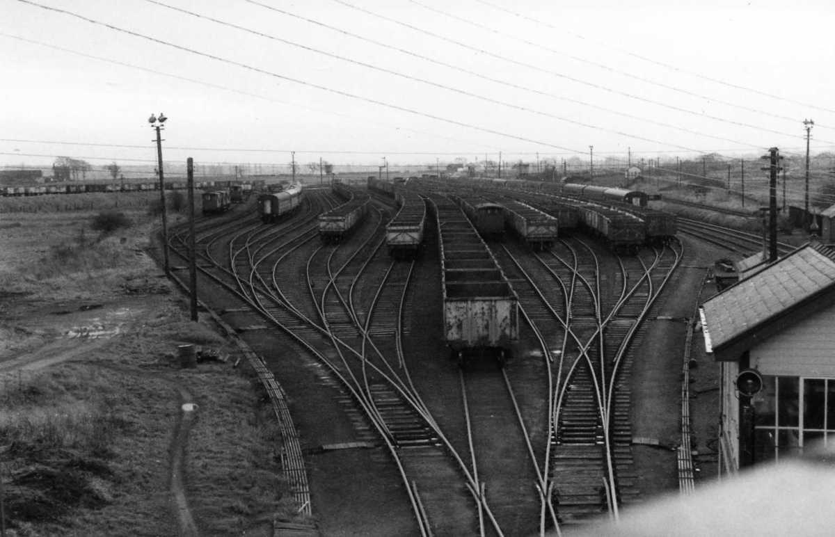 Norton Junction sidings, West Midlands. Rakes of empties were gathered and allocated where needed at collieries. In pre-nationalisation days coal merchants owned fleets of wagons to be run from particular collieries to their depots