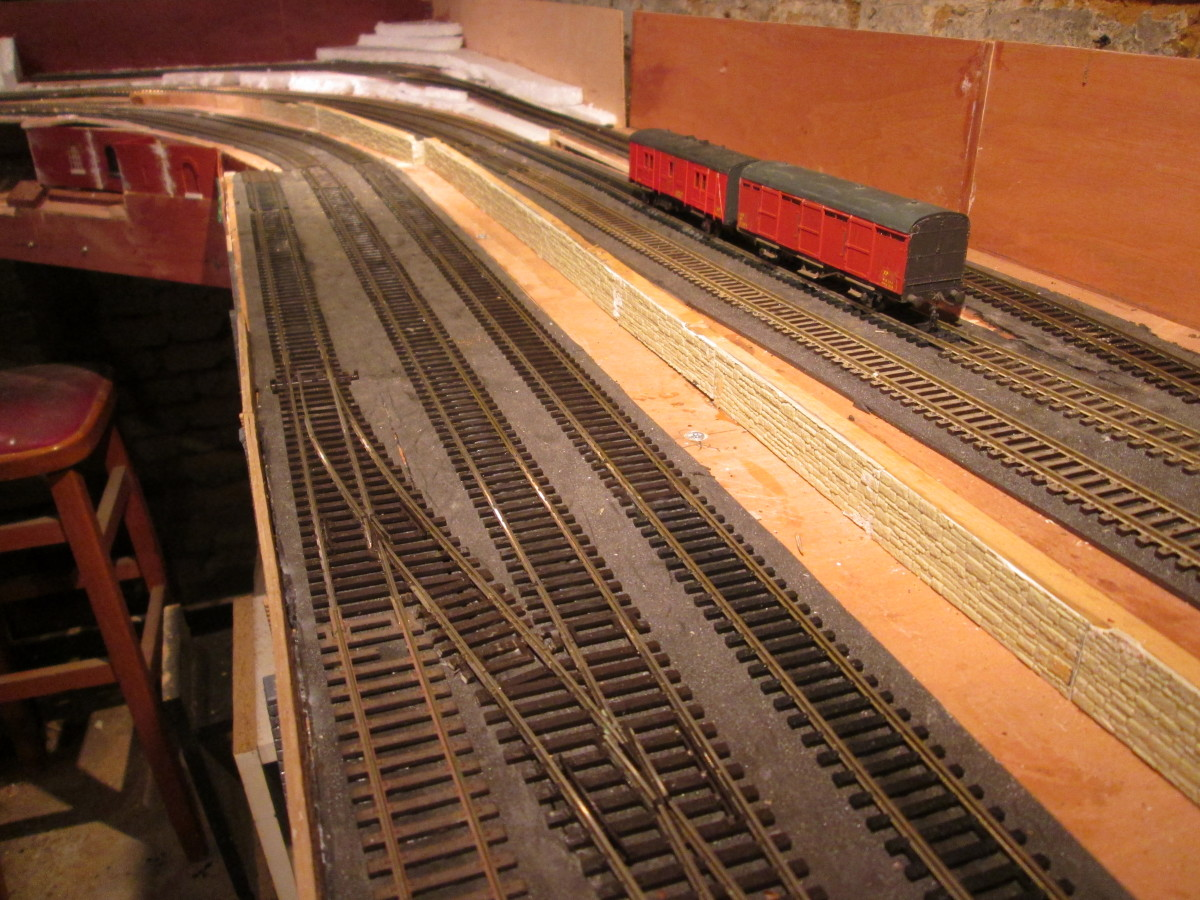 Track laid out and pinned or glued (wood glue dries clear). This is the embryonic 'Ainthorpe Junction' layout, awaiting further track and points to progress and in the opposite direction...