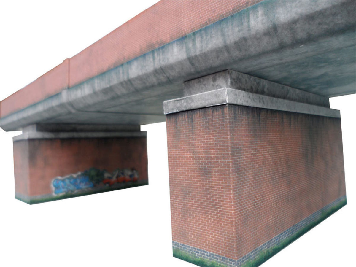 This brick-faced concrete structure is a model on sale through ebay, complete with graffiti (see under bridge, far pier) and streaking. On the right layout this would be a centrepiece, but it would have to be large scale - not your average branch