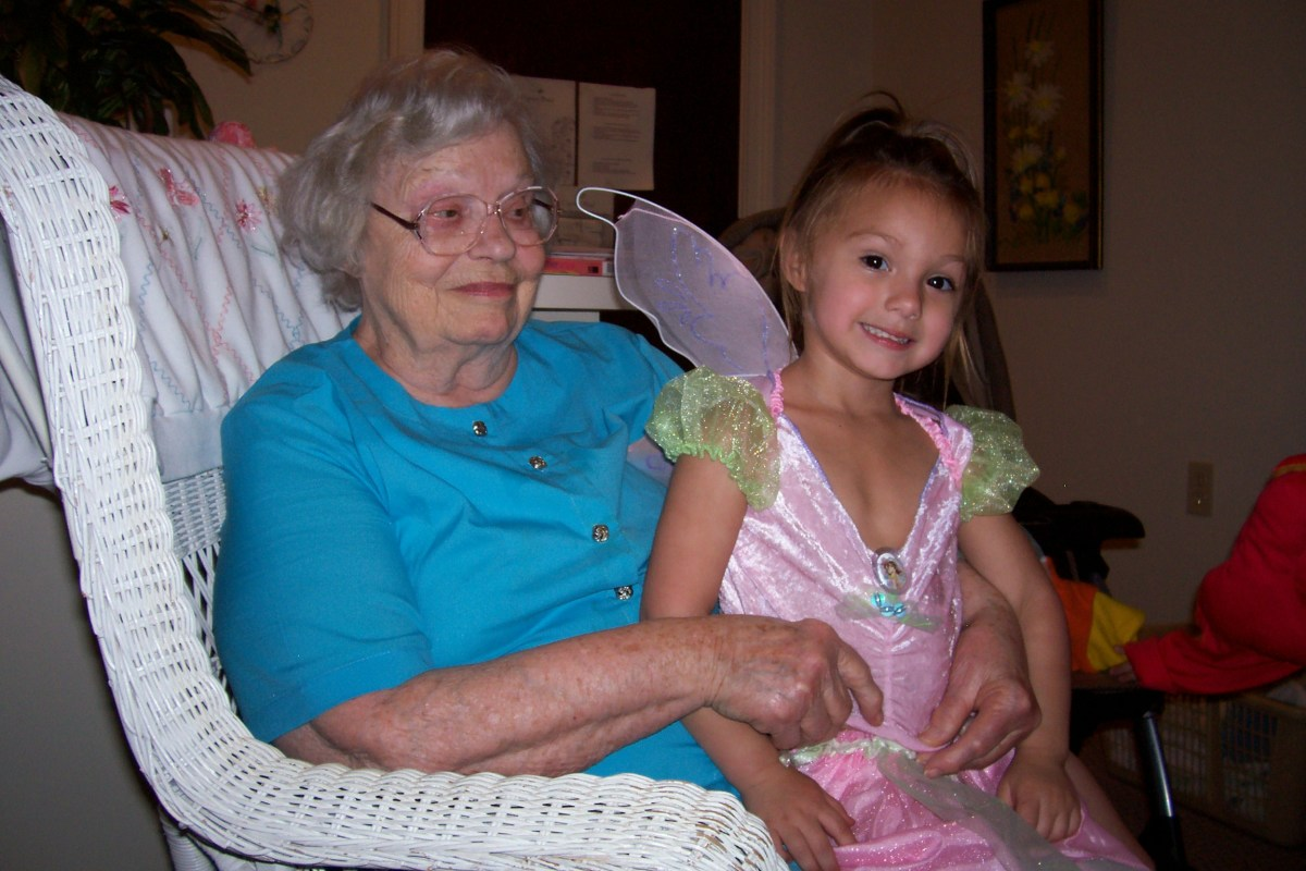 Mom's last Halloween, with her great-granddaughter.