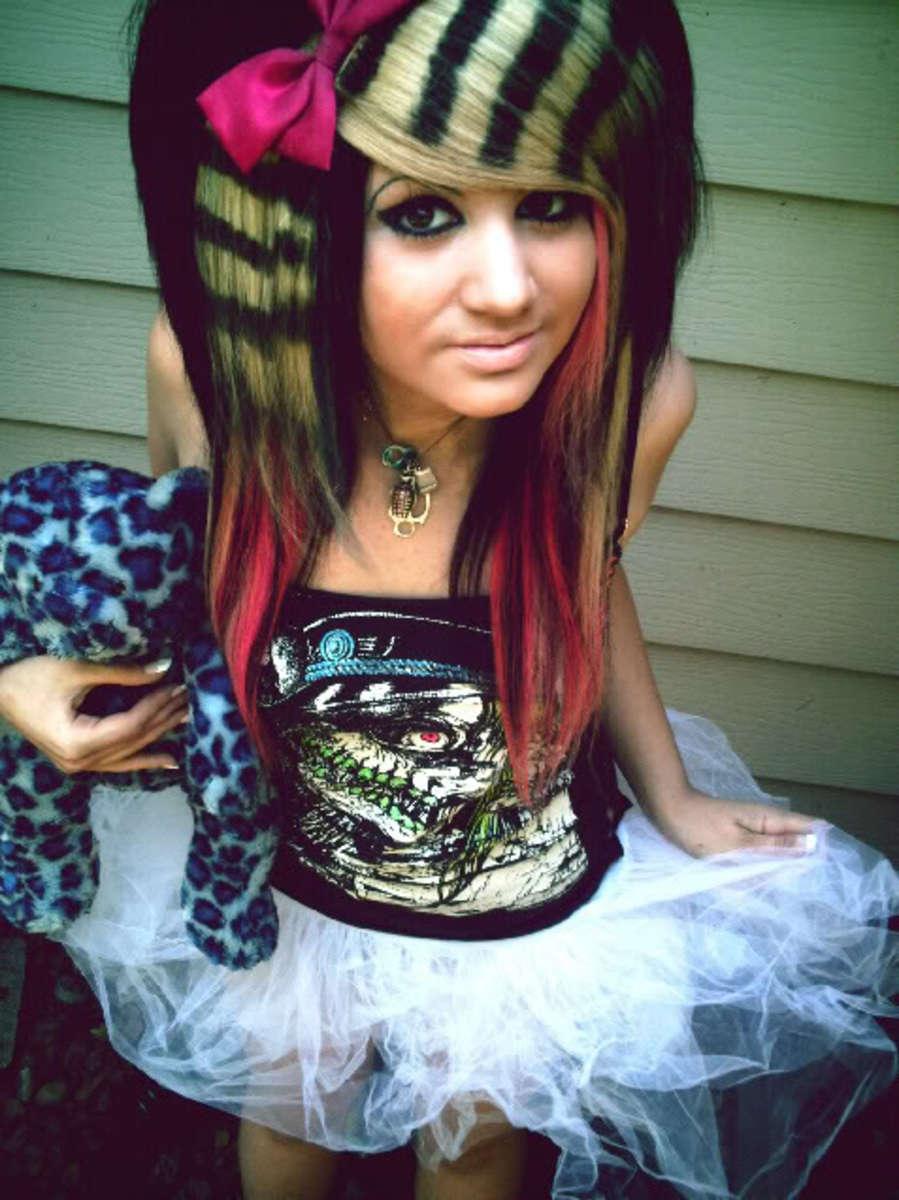Emo Girl with Rainbow Hair