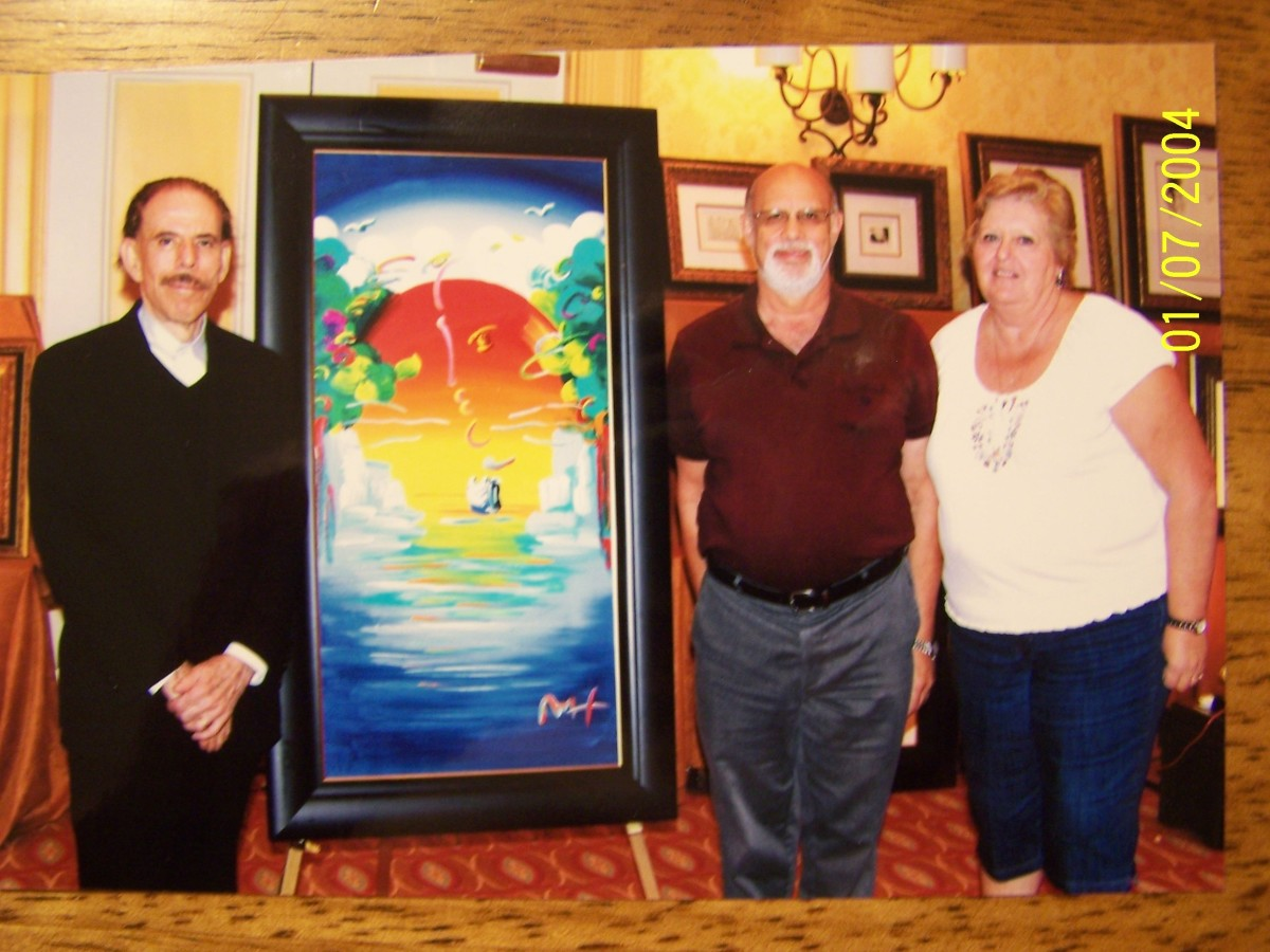 PETER MAX, MY WIFE MARY, and I (I can only dream of owning that painting) 12/5/2011
