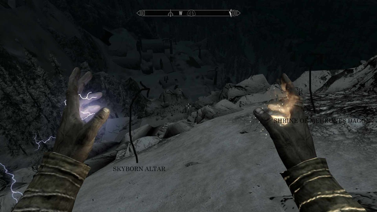 Skyrim Get to Skyborn Altar and Shrine of Mehrunes Dagon at the Vantage Point
