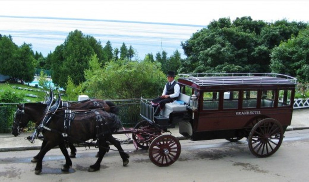 Horse drawn carriage at the Grand Hotel