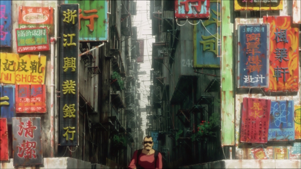 The city portrayed here is recognizably based upon Hong Kong.