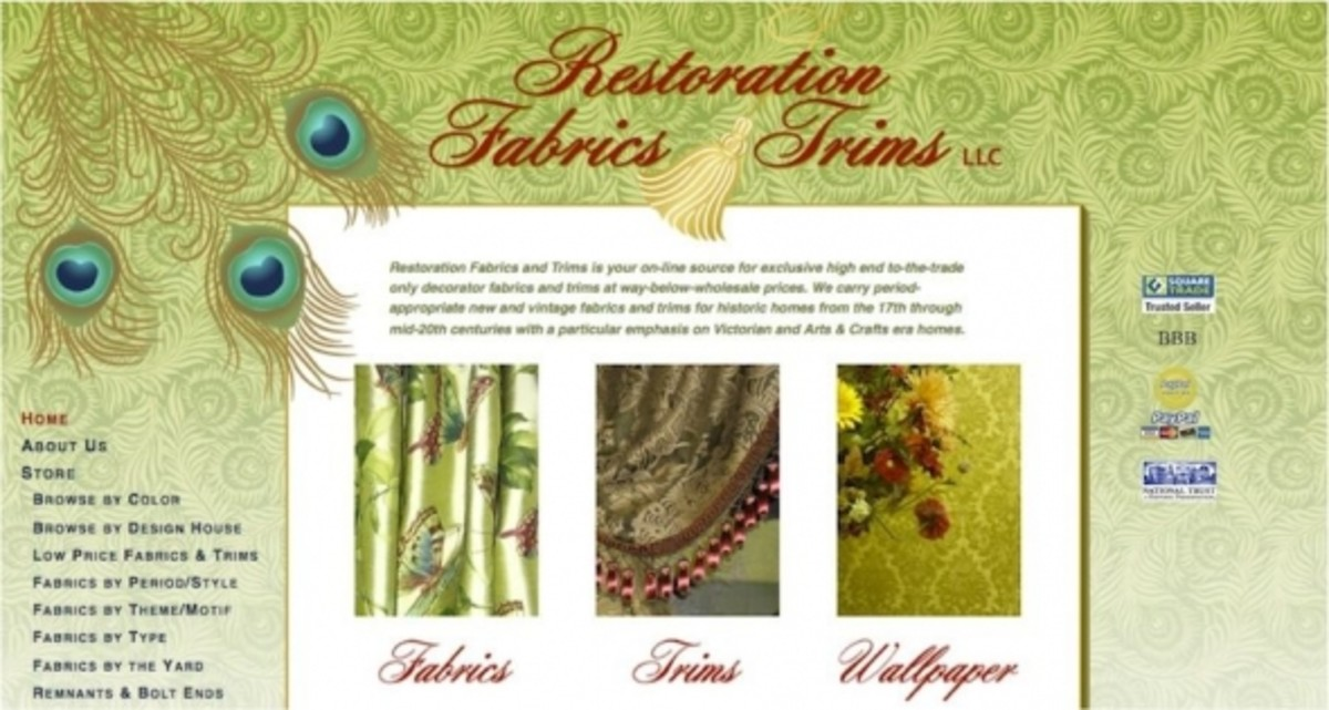 Restoration Fabrics and Trims website homepage