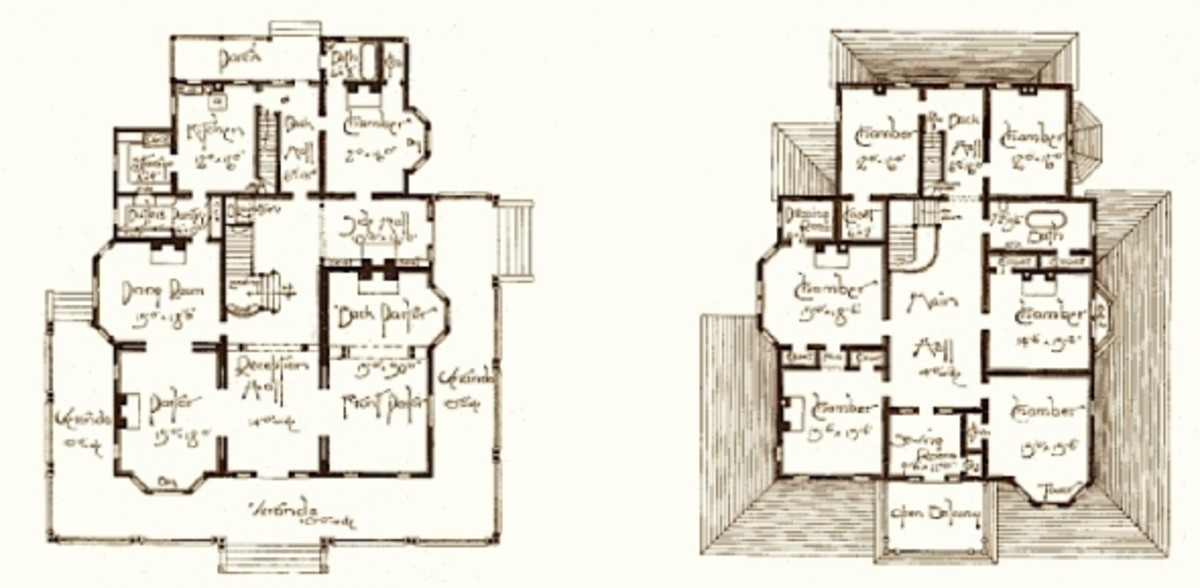Floor plans for a late Victorian House designed by Barber
