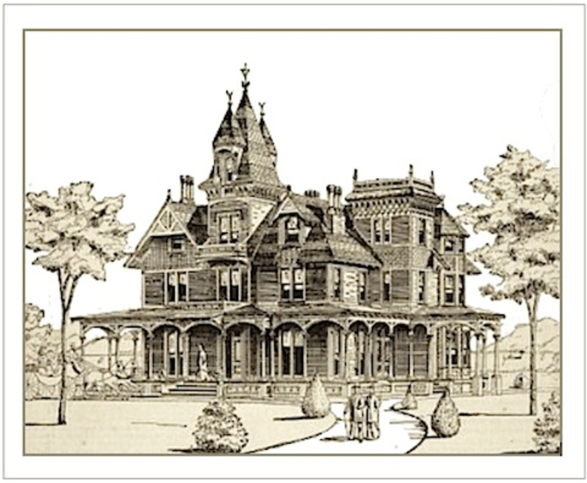 1879 illustration of a Victorian house showing Energy Efficient Porches, Balconies, and Orientation with strategically planted trees.