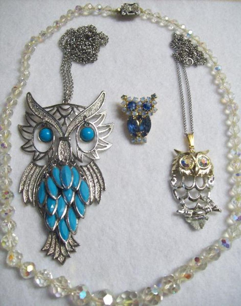 Fun owl pieces and a chunky bead necklace made in Japan.