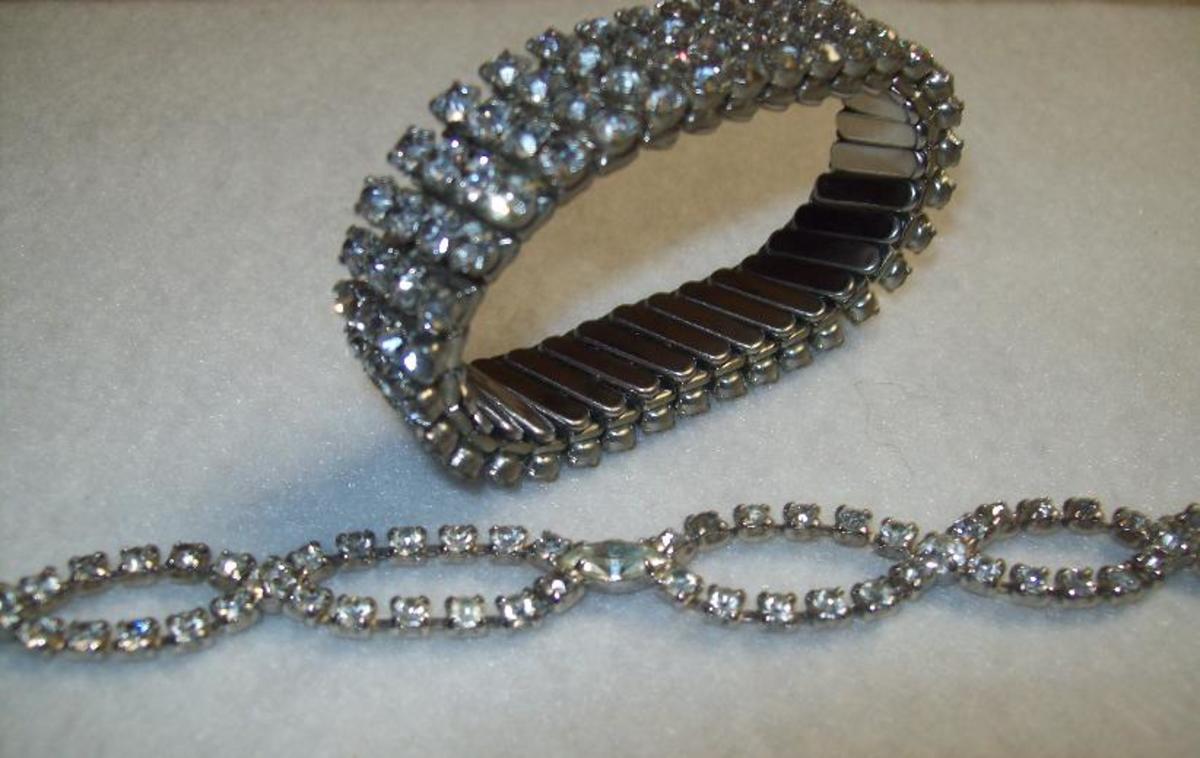 Rhinestone bracelets.