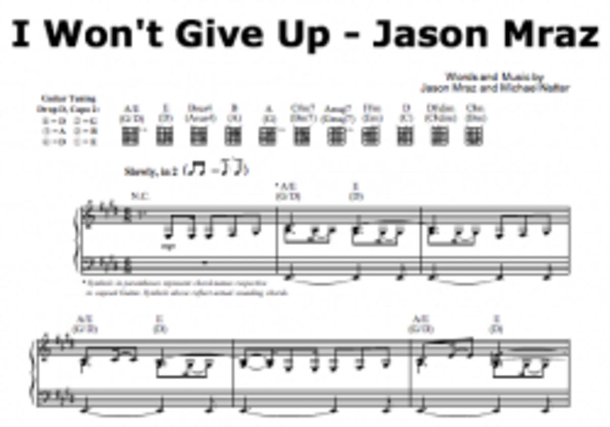 I Wont Give Up Sheet Music