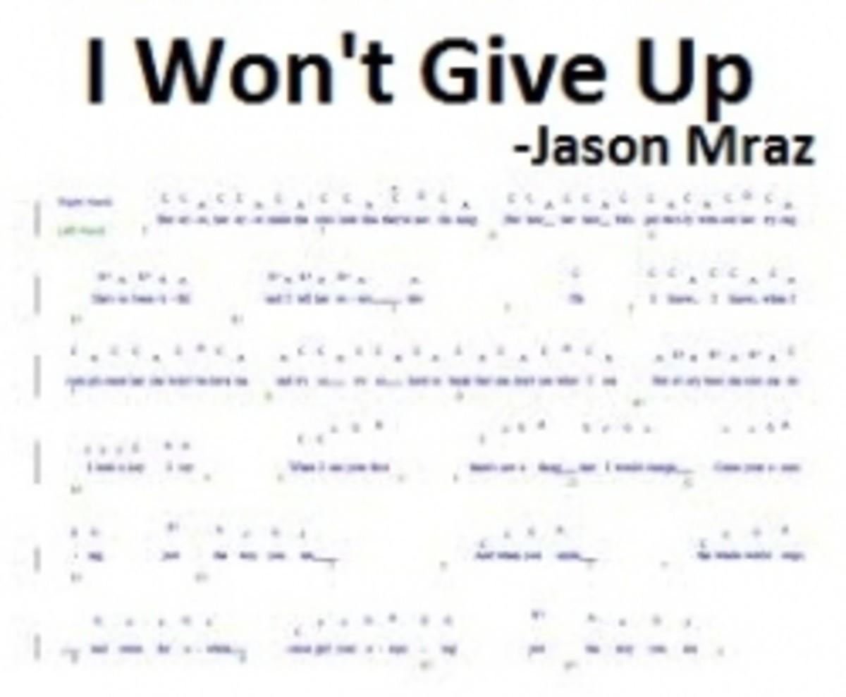 Jason Mraz - I Won't Give Up Piano Chords and Sheet Music