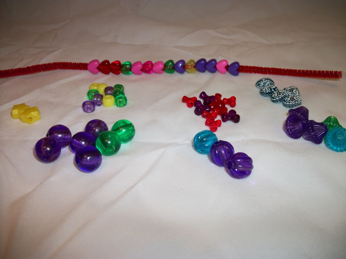 Variety of plastic beads in a variety of colors