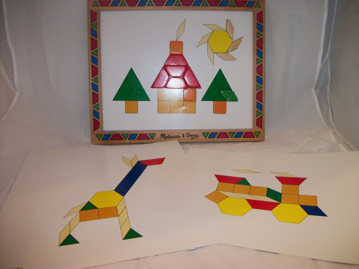 Melissa & Doug pattern block are magnatized and stay in place.  Comes with picture plates to copy.